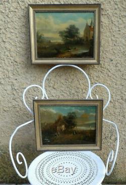 2 Flemish Paintings Xixth. Beautiful Lacustres Landscapes Animated