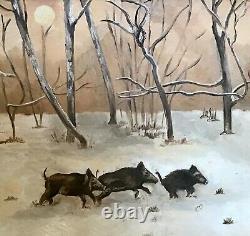 5 Painting Oil On Wood Wild Boar In Winters Wood Frame
