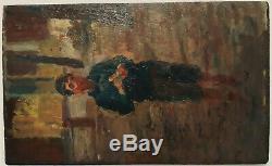 A Boy Banana Rare Old Little Wood Oil Impressionist 1900-1920