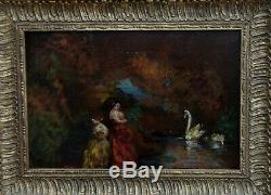 Adolphe Monticelli Nineteenth Workshop Entourage. Women In A Park With Swans