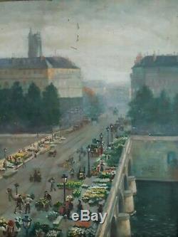 Alfred Le Petit (1841-1909) The Paris Pont Au Change Oil Market Flowers 1904
