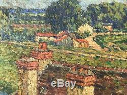 Alphonse Roubichou Painting Hst 1920 Impressionism Ship Wash Seine Edge