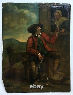 Ancient Hunting Table, Oil On Panel, The Hunter's Pause, 18th