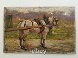 +++ Ancient Impressionist Horse Landscape Painting Late 19th Or Around 1900 +++