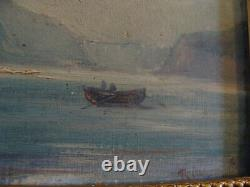 Ancient Marine Painting Signed Oil On Wooden Panel