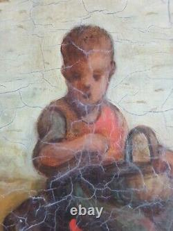 Ancient Painting Children And Poules Painting Oil Antique Oil Painting Dipinto