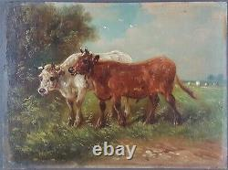 Ancient Painting Cows In The Pre Painting Oil Antique Old Painting Ölgemälde