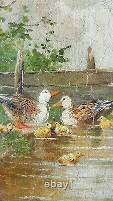 Ancient Painting Ducks Painting Oil Antique Oil Painting Ölgemälde Dipinto