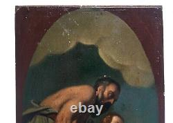 Ancient Painting, Oil On Panel, Mythological Figures, 19th Century