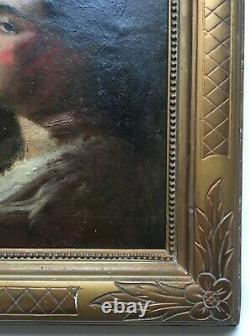 Ancient Painting, Oil On Panel, Portrait Of Woman, Framed, 19th