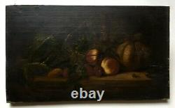 Ancient Painting, Oil On Panel, Still Life, Fruits And Carafe, Late 19th Century