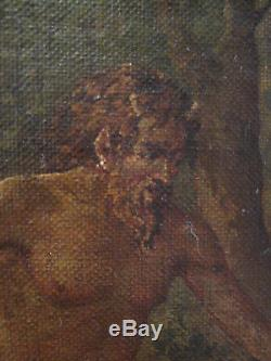 Ancient Painting Portrait Nude Woman Fauna Nymphs Oil Canvas Symbolism Nineteenth