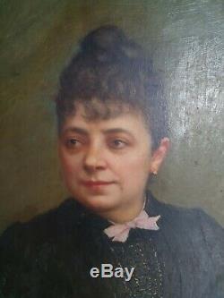 Ancient Pair Of Paintings Portraits Nineteenth Hsp 1888 Paris F. Its