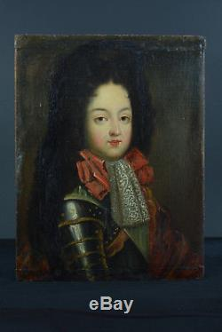 Ancient Portrait Painting In King Bourbon Dauphin Armor Pierre Gobert 18th