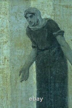 Ancient Symbolist Painting Scene Of The Passion Christ Landscape Monogram 19th X 2