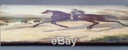 Ancient Table Horseman Chasing Painted Oil Painting Antique Oil Painting