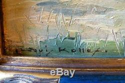 Ancient Table. Landscape. Oil On Framed Wood Panel. Signed Louis Rollet