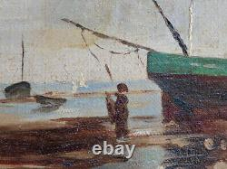 Ancient Table, Marine, Boats At Low Tide, Signed Fischer