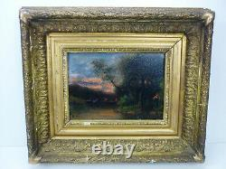 Ancient Wood Oil Table End 19 Eme Debut 20 Eme Landscape Signature