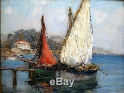 Andre Beronneau (1886-1973) Hsps Port Carquerianne Impressionist Oil Painting