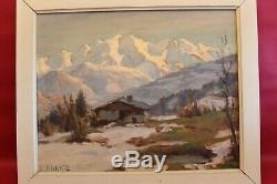 Angel Abrate Oil On Wood Panel 41 X 33 CM Mont Blanc Alps 1963
