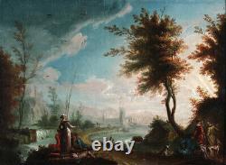 Animated River Landscape, Italian School Xviii, Dated 1774 Signed Illegible