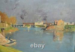 Antique Landscape Painting By Joseph Paul Meslé (1855-1929)
