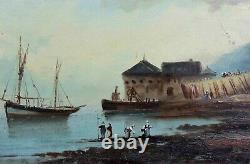 Antique Oil On Panel Representing An Animated Marine Signature Normandy