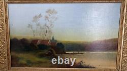 Antique Oil Painting Animated Landscape Barbizon School Signed Morillo