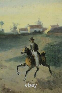 Antique Painting, Bute Du Lion 1832, Battle Of Waterloo, Napoleon, Signed Madou