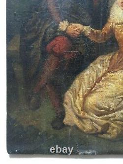 Antique Painting, Oil On Panel, Galante Scene, 19th Or Before