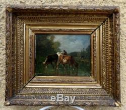 Antonio Cordero Cortes 1827-1908. Beautiful Table Barbizon Cows & A La Mare