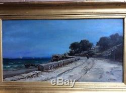 Appian Landscape Seaside Animated Characters Cornice, Boat, Hsp 34x65