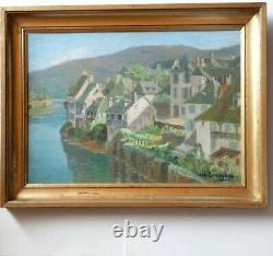 Argentat On Dordogne Oil Signed In January Guichard 1883 1963 Painter Périgourdin