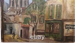 Attributed To Elisha Maclet (1881-1962) Paris Oil On Wood Area Ca 1940