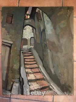 Beat Robert (1903-1990) Alley Village Basque Country Old Oil/signboard