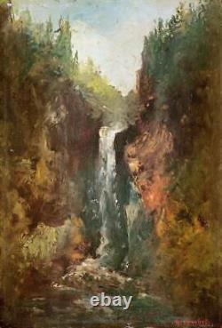 Beau Barbizon XIX Small Landscape At The Cascade In The Forest Near Gustave Courbet