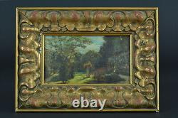Beautiful Ancient Painting Landscape Garden View Stele Spring Golden Wood Frame