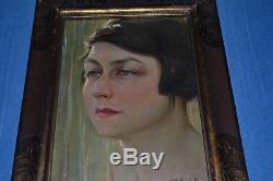 Beautiful Art Deco Portrait Oil On Panel Sign Louis Pierre Amiel / 1889/1980