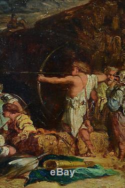 Beautiful Empire Painting Adrien Guignet Hunting Archery Archer Arrow Empire Rare