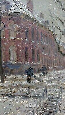 Beautiful Impressionist Old Table Signed 19th Snowy And Animated City