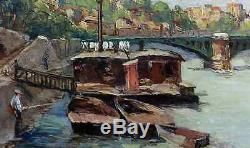 Beautiful Impressionist Painting 1920-1930. Animated Landscape Of The Banks Of The Seine