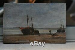 Beautiful Marine 19 Th Near Oil On Panel Daubigny