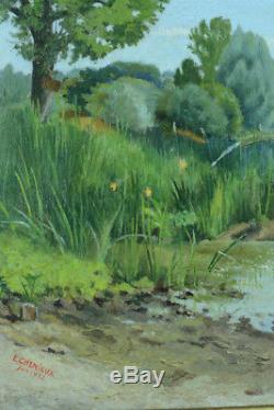 Beautiful Old Painting Landscape Estival Fontainebleau Barque Marne Riverside