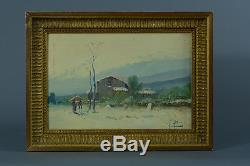 Beautiful Old Painting Oil On Wood Animated Landscape Signed Blin 19e