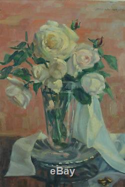 Beautiful Old Painting Zo-laroque Still Life Bouquets Pink Flowers Basque Country