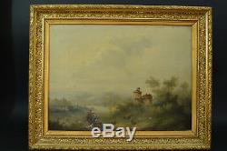 Beautiful Old Table Animated Landscape Hors Horses Dog Goats 19th Signed Dated 1866