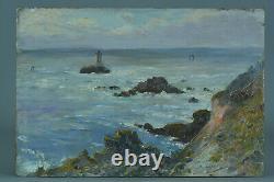 Beautiful Painting Ancient Marine Landscape Gaston Guignard Seaside Lighthouse Bordeaux 19