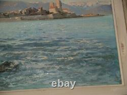 Beautiful Painting Honoré Camos/oil On Wood Antibes In The Sun. 1954