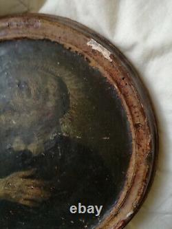 Beautiful Portrait Of A Saint, Xvith Catholic Religion, Oil On Wood, Tondo